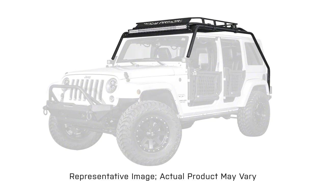 body armor 4x4 overland style roof rack 07 18 jeep wrangler jk 2 door