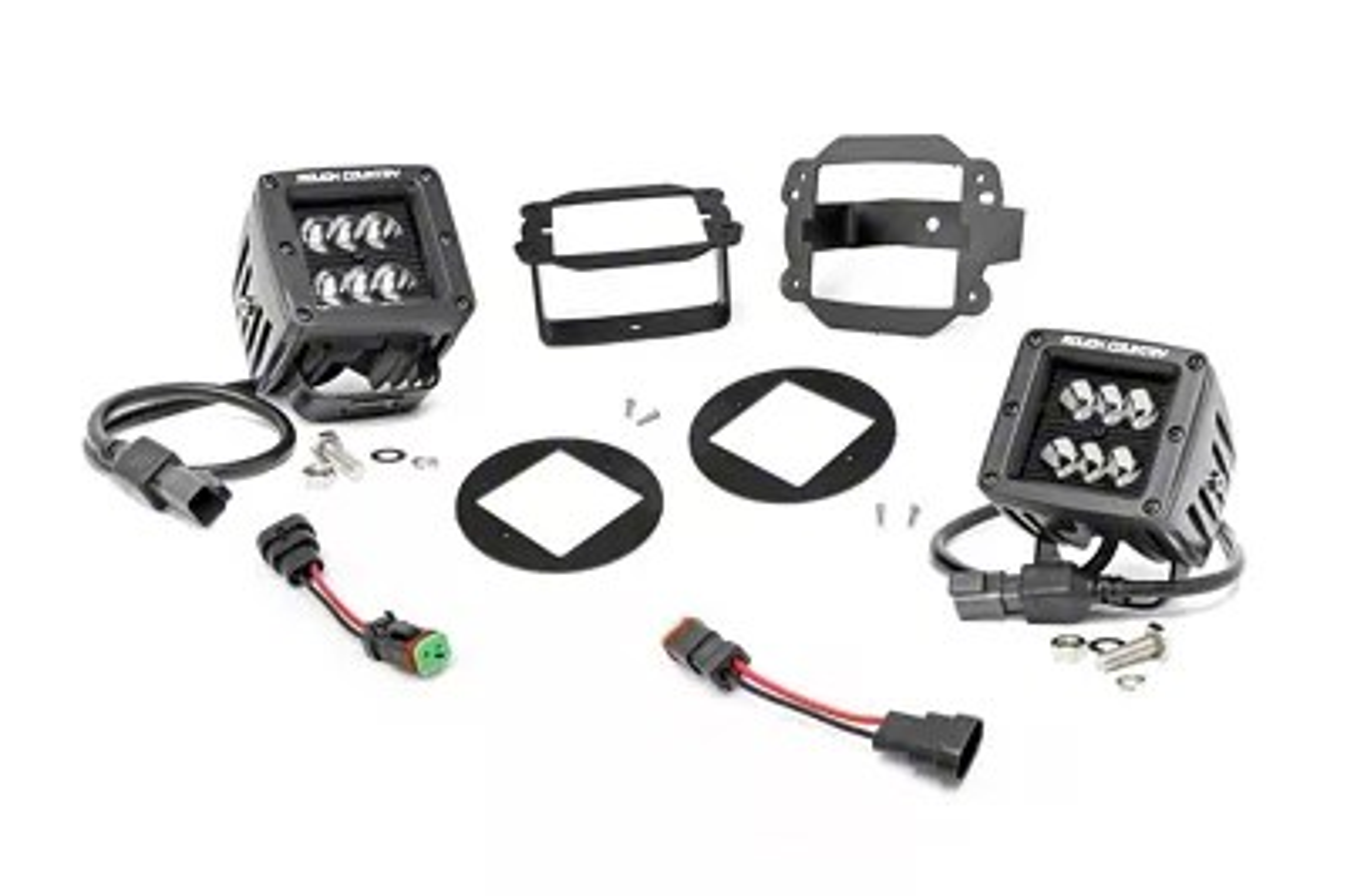 Rough Country Jeep Wrangler Black Series LED Fog Light Kit