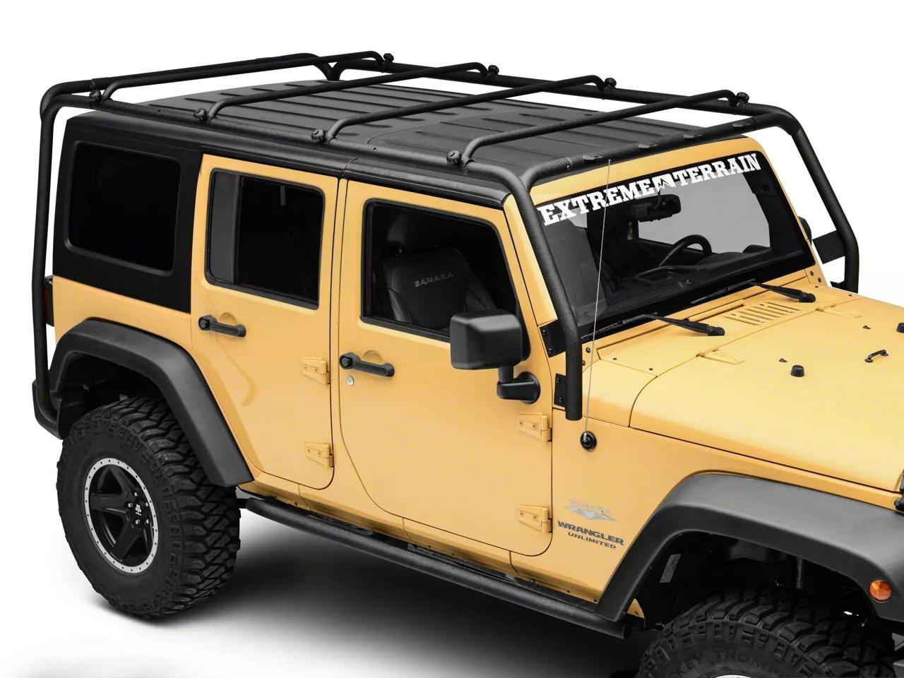 smittybilt src roof rack textured black 07 18 jeep wrangler jk 4 door
