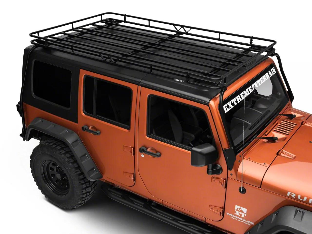 garvin expedition rack with basket 07 18 jeep wrangler jk 4 door