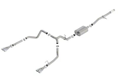 borla s type dual exhaust system with chrome tips rear exit 19 21 5 3l sierra 1500 w factory dual exhaust