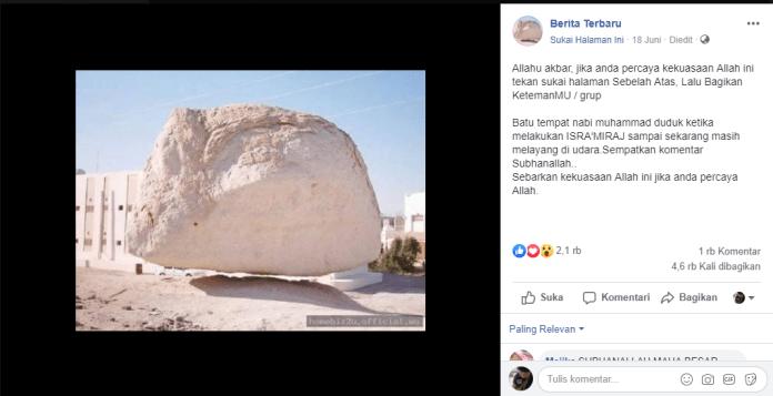 [SALAH] Batu tempat Nabi Muhammad duduk ketika melakukan Isra Mi'raj sampai sekarang masih melayang di udara