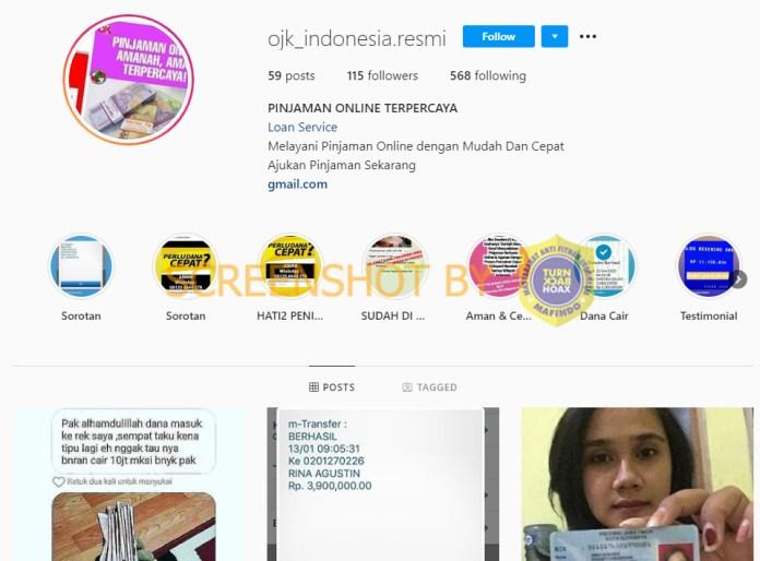 Salah Akun Instagram Peminjaman Online Ojk Lembaga Informasi