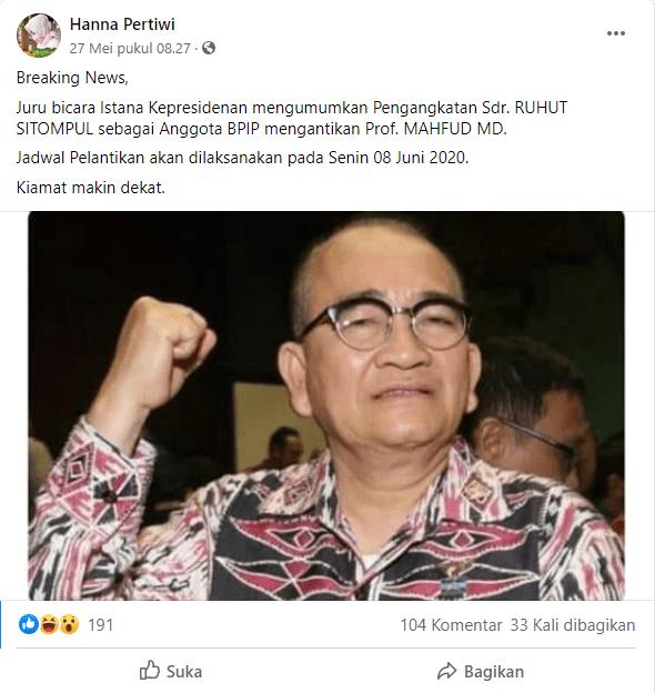 [SALAH] Ruhut Sitompul Diumumkan Menjadi Anggota BPIP Menggantikan Mahfud MD