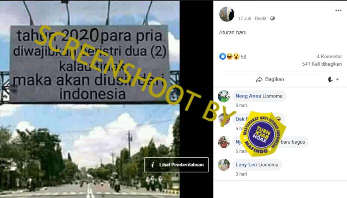 [SALAH] Tahun 2020 Pria Diwajibkan Beristri Dua, Jika Tidak Akan Diusir Dari Indonesia