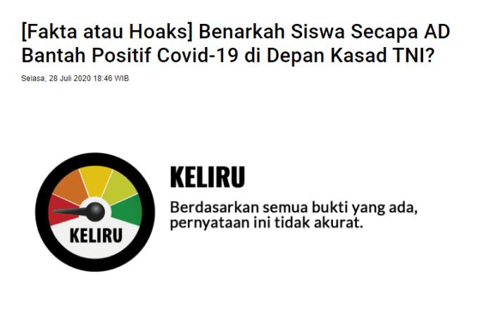 "[SALAH] ""KASAD klarifikasi, anggota TNI di bandung ternyata rata2 membantah Positif kena Covid 19"""