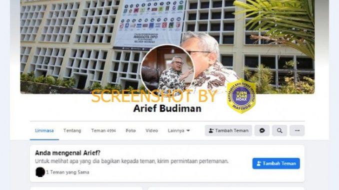 """[SALAH] Akun Facebook Ketua KPU RI """"Arief Budiman"""""""