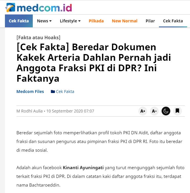 """[SALAH] """"Bachtaroeddin, anggota Fraksi PKI di DPR, adalah kakek Arteria Dahlan"""""""