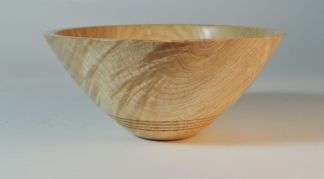 wooden bowl made of rippled ash