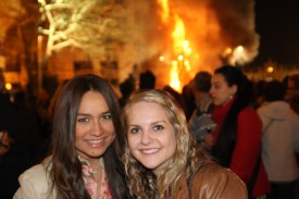 Two of my new friends Ahley (left) and Nicole in Valencia celebrating Las Fallas