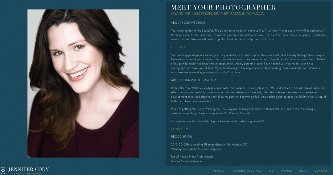 A Bio for Egomedia Photography written by Turner Creative.