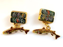 A Pair of Victorian 14ct Gold & Enamel Cuff Links - as Rainbow Trout & Flies