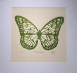 Metamorphosis green, embossed woodcut print