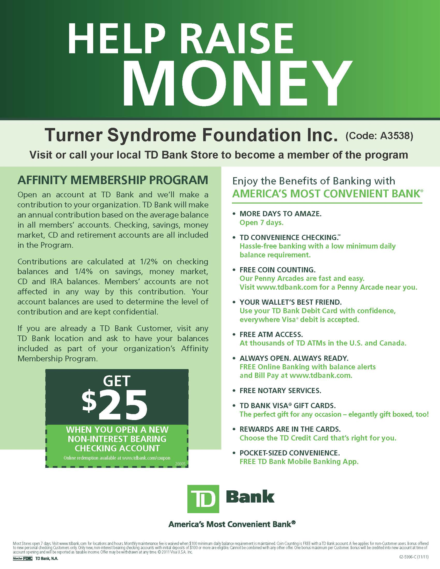 Support Turner Syndrome Foundation with the TD Bank Affinity Program