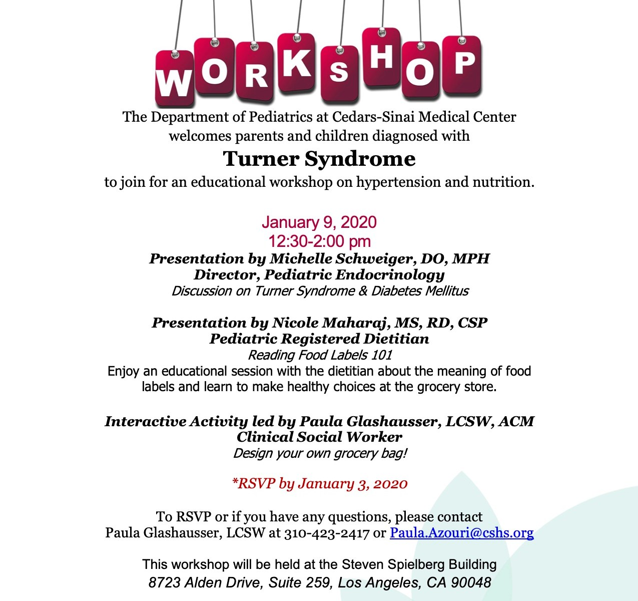 Cedars Sinai Workshop