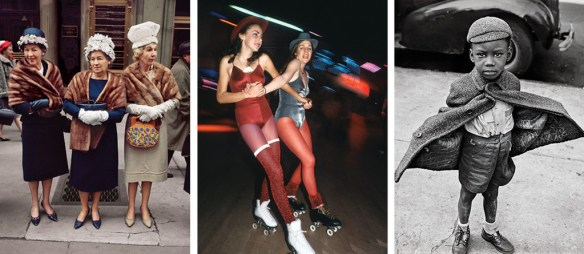 Left: Fifth Avenue, midtown, 1964. (Photograph by Joel Meyerowitz.) Center: Skaters at the Roxy Roller Disco, 1980. (Photograph by Allan Tannenbaum.) Right: Easter Sunday, Harlem, 1949. (Photograph by Jerome Liebling.) Courtesy, New York Magazine