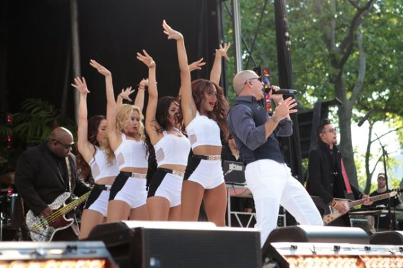 Pitbull and company performing on Good Morning America, May 31, 2013 Photo credit: ABC/Fred Lee