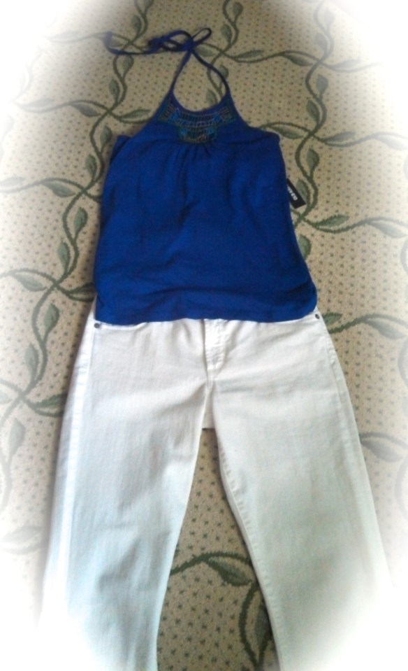 My summer ensemble: white jeans/Citizens of Humanity paired with  blue halter top/Old Navy