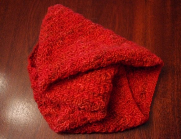My cherry-red handmade scarf