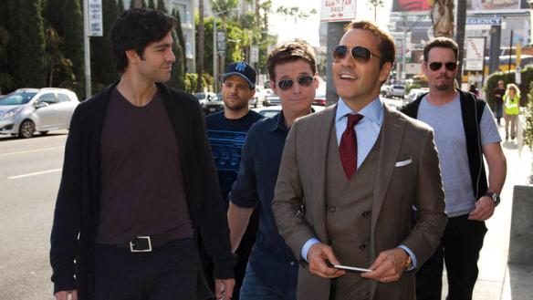 "From left, Adrian Grenier, Jerry Ferrara, Kevin Connolly, Jeremy Piven and Kevin Dillon in a scene from ""Entourage,"" which hit theaters June 3.  (Claudette Barius / Warner Bros.)"