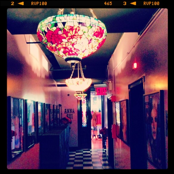 The lobby at Anna Sui's studio - according to Ashley everything is branded beautifully with black and white tile floors and purple walls