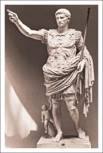 Augusta Prima Porta statue showing the handing back of the standards lost by Crassus to the Parthians half a century earlier