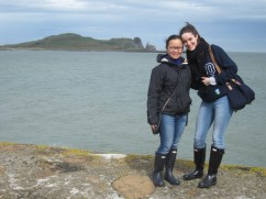 With Anika at the east pier, Ireland's Eye in background