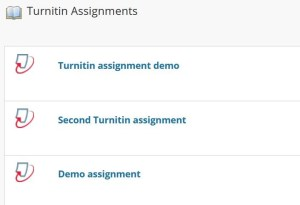 List of assignments in the course
