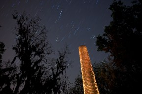 One of the remaining Crocheron Columns (circa 1843 stands out in the night sky at Old Cahawba Archaeological Park in Alabama during the early morning hours of Thursday, April 15, 2010.