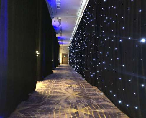 Las Vegas Casino Event with an LED Star Drop / Star Curtain Hallway Effect From Turn of Events Las Vegas Rental Drapery