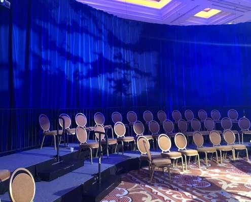 Presidential Blue Velour / Blue Velvet for a Viva Physicians Event in Las Vegas From Turn of Events Las Vegas Rental Drapery