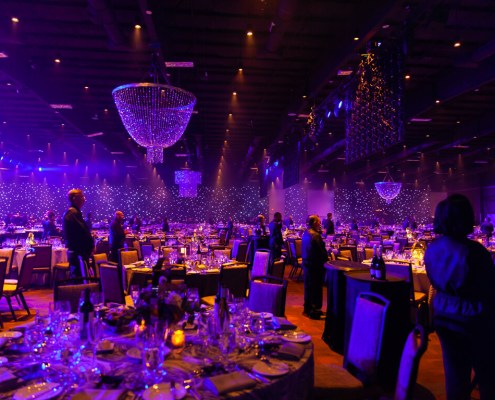 LED Star Drop / Star Curtains Background with Beaded Chandeliers From Turn of Events Las Vegas Rental Drapery