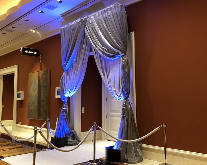 Multi layered Silver Satin Tied Back Drapery Event Entrance from Turn of Events Las Vegas