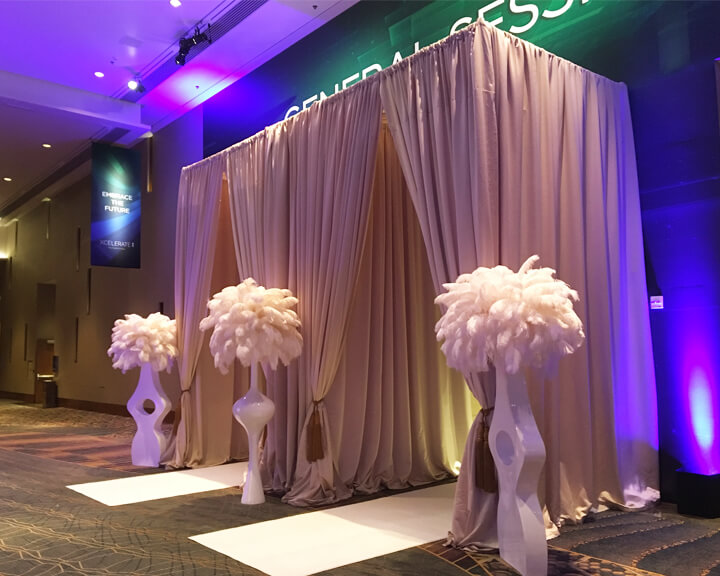 Custom Taupe Satin Drapery Dual Entrance from Turn of Events Las Vegas