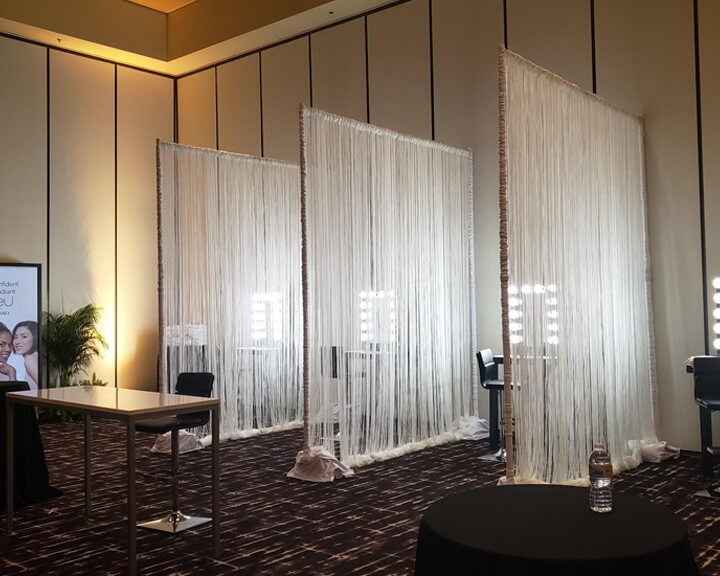 String Drapery Panel Booth Dividers from Turn of Events Las Vegas