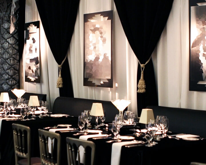 Hollywood Theme Drapery with Tied Back Black Velour and Gold Tassel Ties from Turn of Events Las Vegas