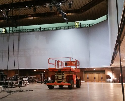Installation of a Projection Screen from Turn of Events Las Vegas