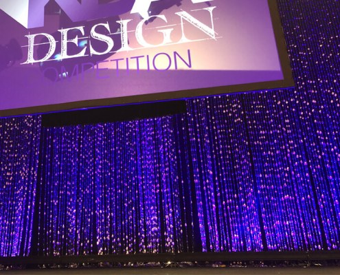 Uplit in Purple, Silver Tear Drop Bead Panel Rentals From Turn of Events