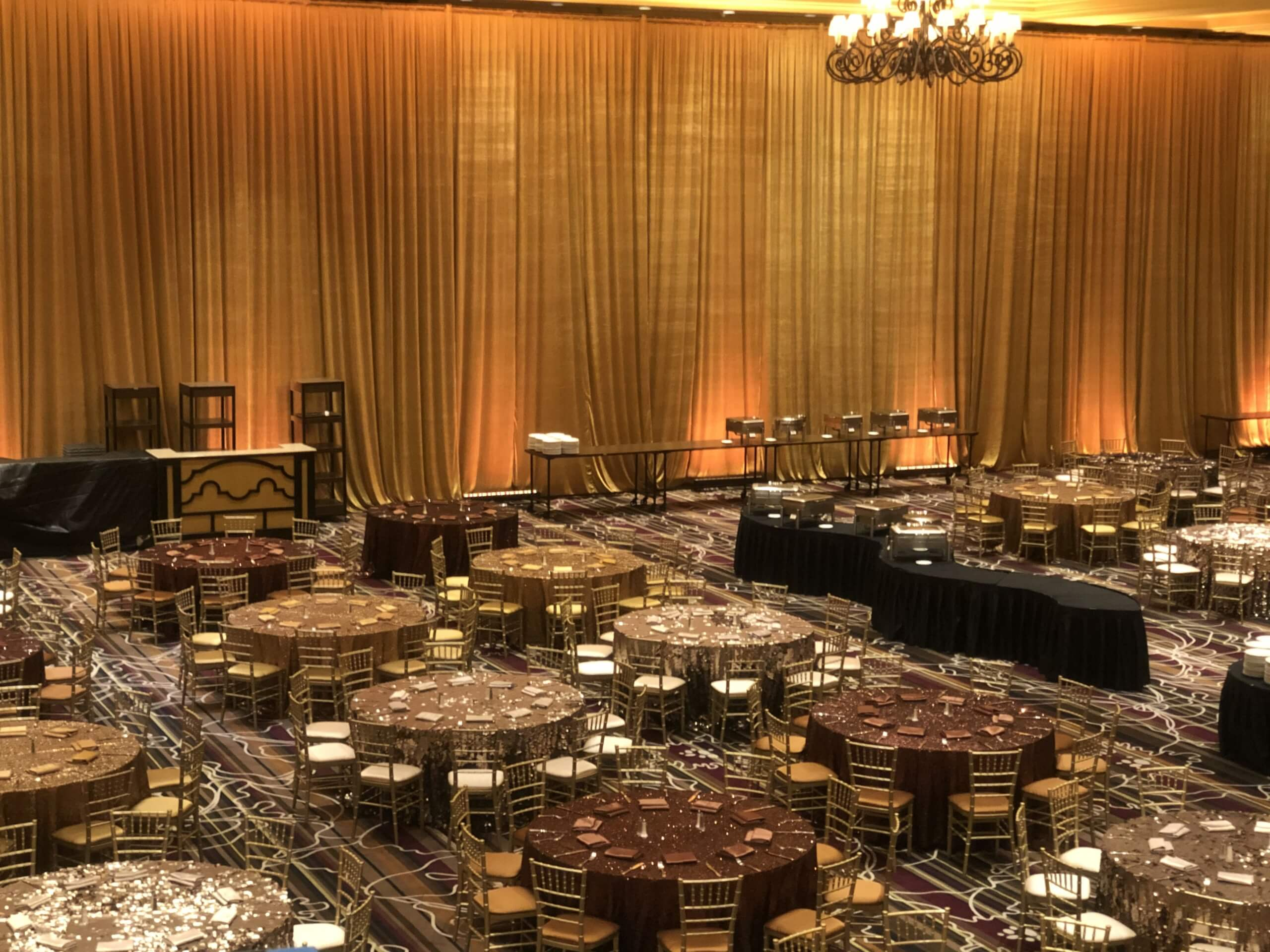Turn of Events Las Vegas Ice Gold Velour Rental Pipe and Drape