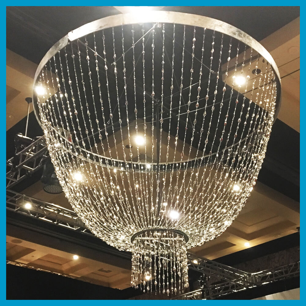 Turn of Events Las Vegas Event Decor Rentals Chandeliers Beaded Panels Chain Led Star Drops