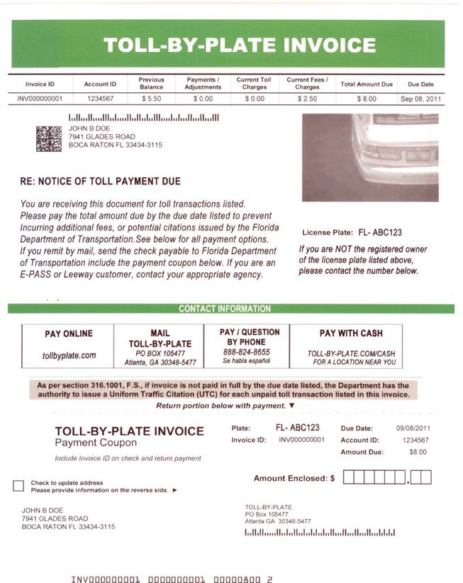 Florida Department Of Transportation Toll By Plate - Resume