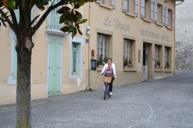 Cycling down the hill into St Savin