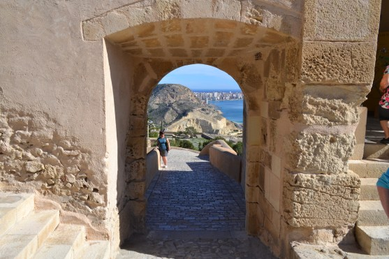 Walking up to Santa Barbara Castle in Alicante (from the very bottom....)