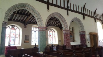 The painted arches in St Peters Theberton