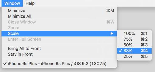iOS Simulator change scale/zoom