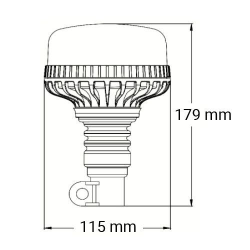 VARNINGSLJUS MICRO LED ROTERANDE R65 STÅNG