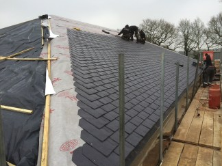rubber slates being laid