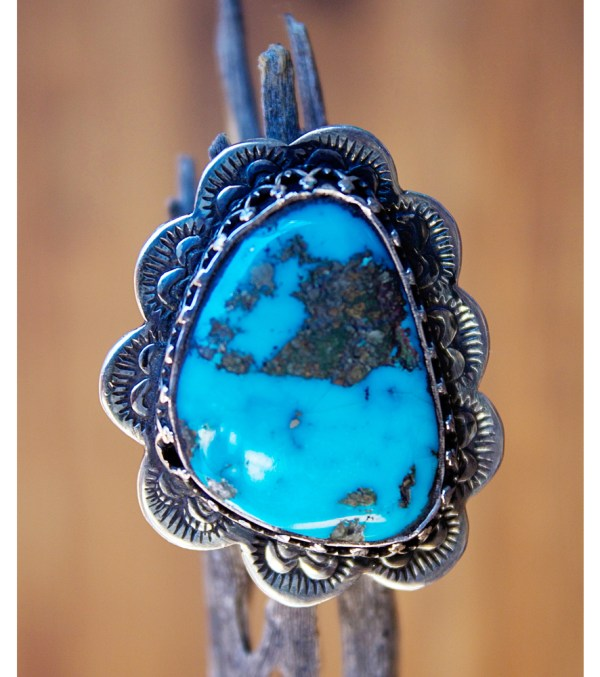 Bright Blue Royston Turquoise Ring - Butterfly