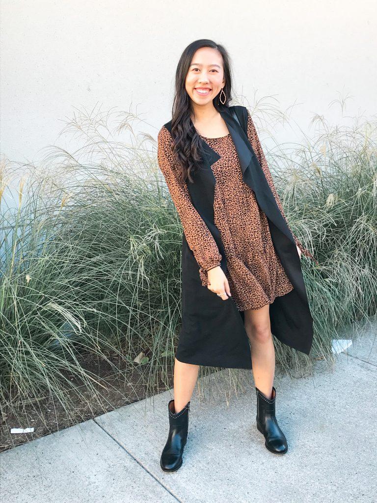 leopard dress outfit idea
