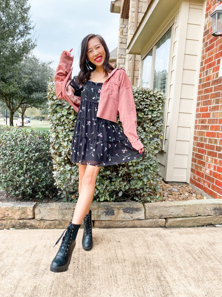 black floral dress and combat boots outfit